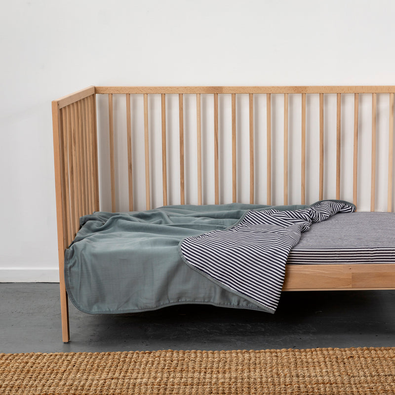 Fitted Cot Sheet | 100% Organic Cotton Muslin - Navy Stripe
