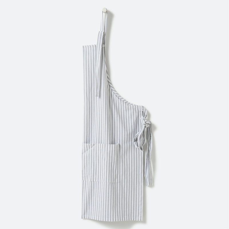 100% Cotton Apron | Grey + White Stripe