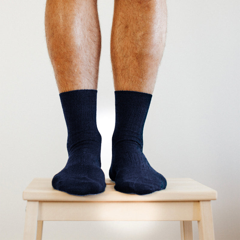 Mens Merino Wool Socks | Navy Ribbed