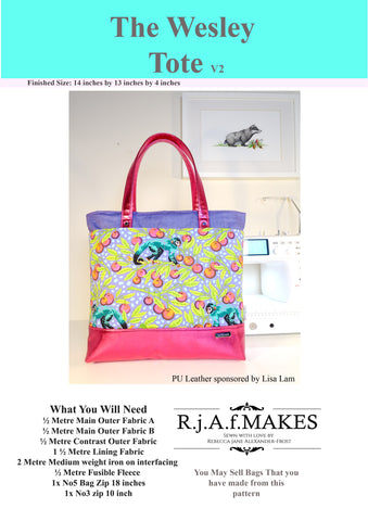 Sew along for the Version 2 Wesley Tote Bag