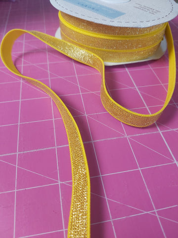 12mm Metallic Gold Elastic sold by the 1/2 Metre