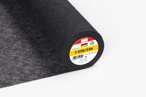 Vlieseline F220 Iron On Medium Weight Interfacing Charcoal/Black Sold by the 1/2 Metre