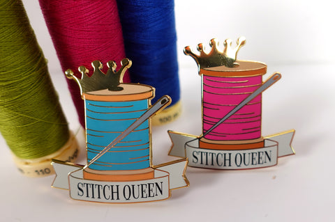 Stitch Queen Hard Enamel Pin Badge comes in 2 colours