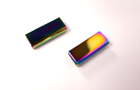 1 inch (25mm ) Strap Cap Ends Rectangle shape Rainbow