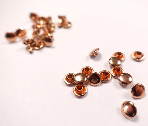 7mm Double Cap Rivets Rose Gold Finish Set of 20