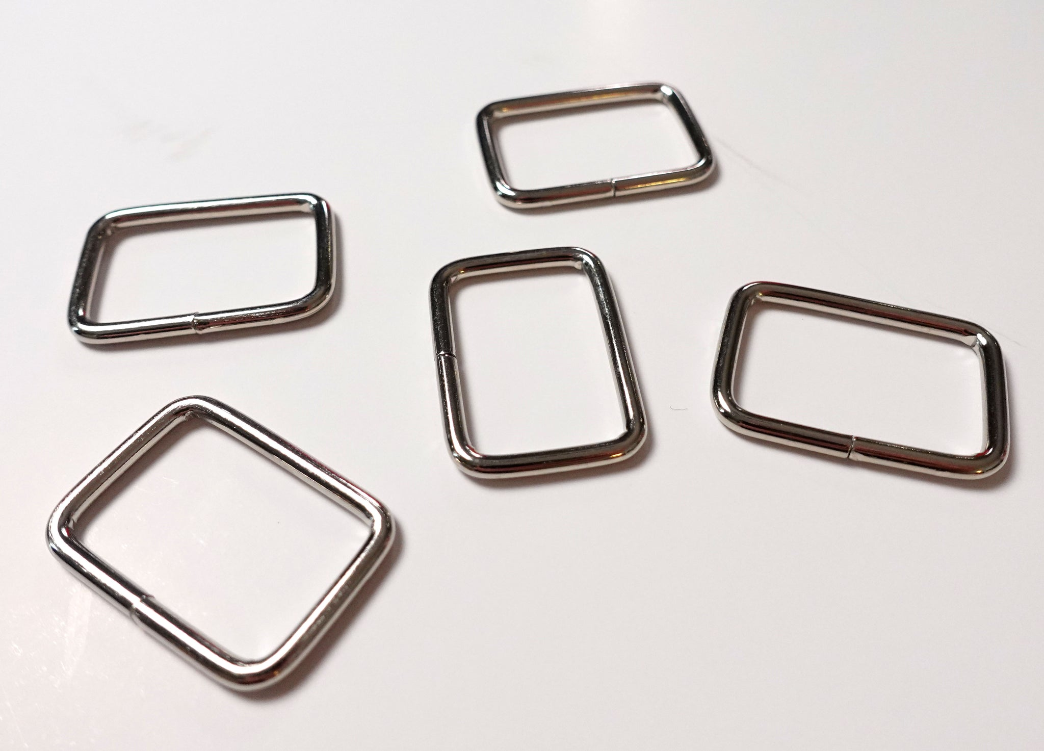 Value Pack 1 Inch Thin Rectangular Rings Silver Finish Set of 5
