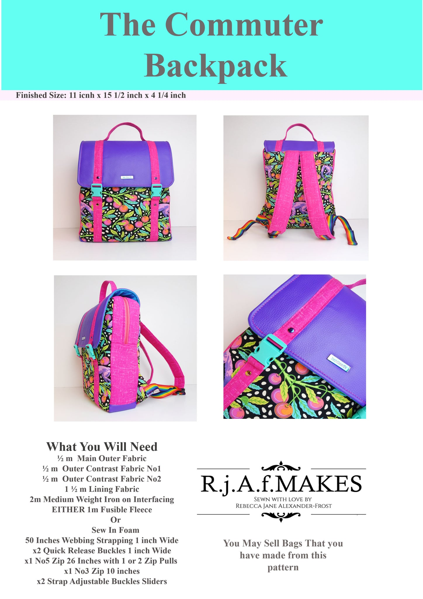 "PAPER Version ""The Commuter Backpack"" Sewing Pattern"