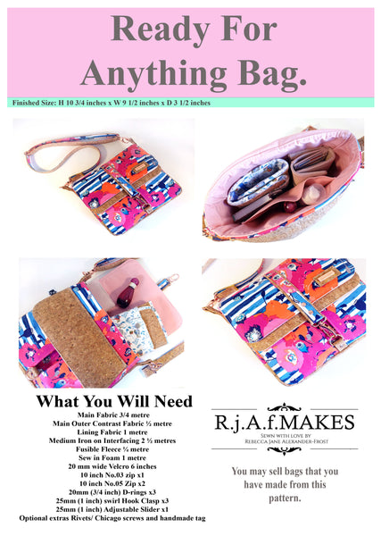 "PAPER VERSION ""The Ready For Anything Bag"" Sewing Pattern"