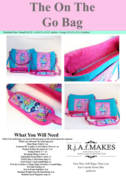 "DIGITAL DOWNLOAD ""The On The Go Bag"" Sewing Pattern"