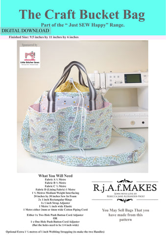 "DIGITAL DOWNLOAD ""The Craft Bucket Bag"" Sewing Pattern"