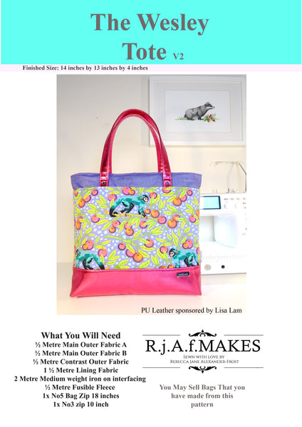 "DIGITAL DOWNLOAD ""The Wesley Tote v2"" Sewing Pattern"