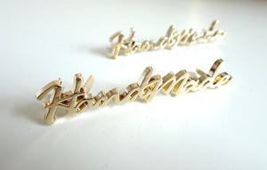 Italic Script Metal Handmade Label/Tag Gold Finish