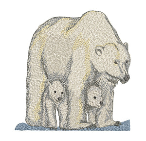 Polar Bear Family 7x5 Embroidery Design (123.2mm by 119.9mm)