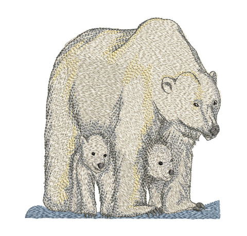 Polar Bear Family 6x10 Embroidery Design (150.1mm by 145.9mm)