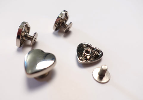 Love Heart Shaped Metal Chicago Screws Silver Finish Set of 4