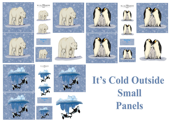Large Fat Quarter Panels Its Cold Outside IN STOCK