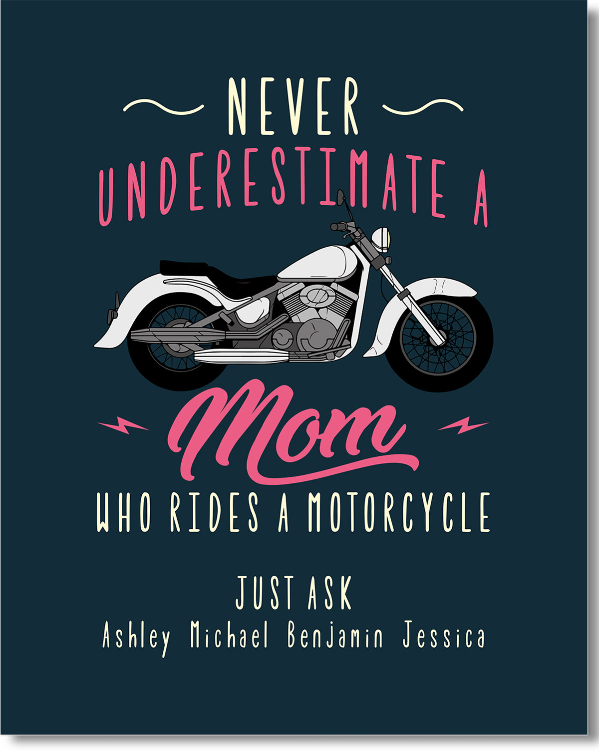 Never Underestimate a Mom Who Rides A Motorcycle - Customizable Wall Décor Art - Print, Poster & Canvas Sizes - Gift for Mom From Children