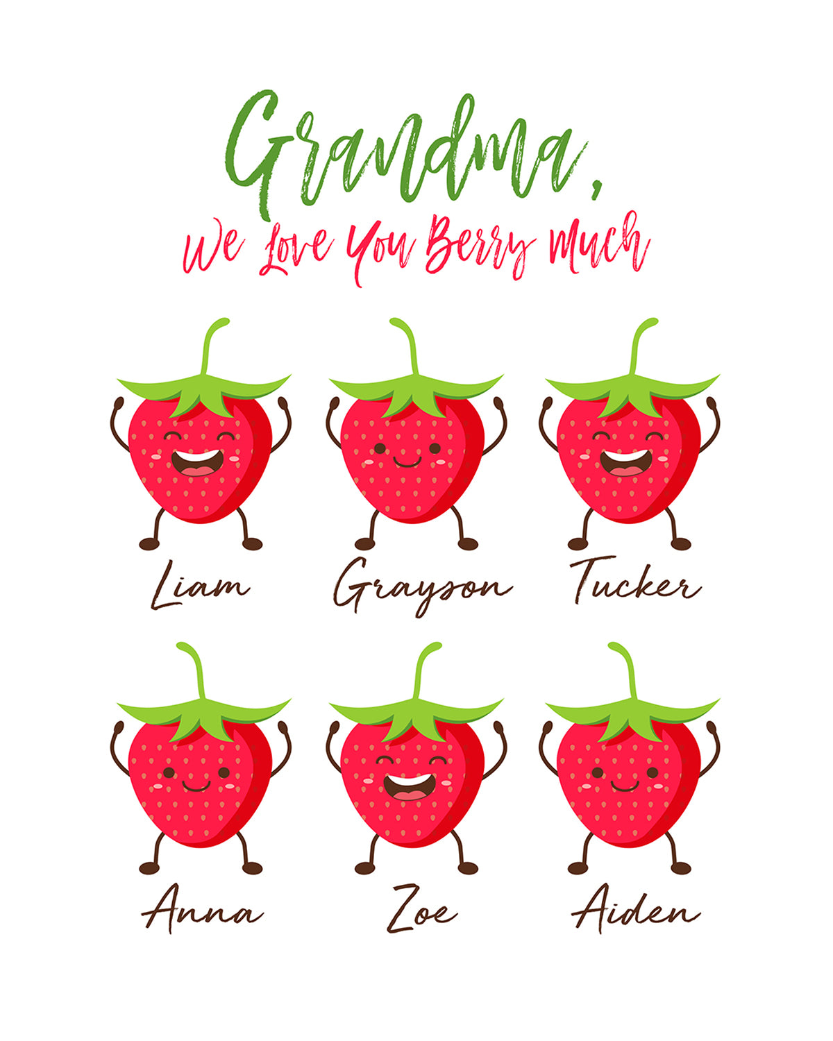 Grandma, We Love You Berry Much - Customizable Wall Decor Art - Print, Poster & Canvas Sizes - Perfect Mother's day gift for grandmothers