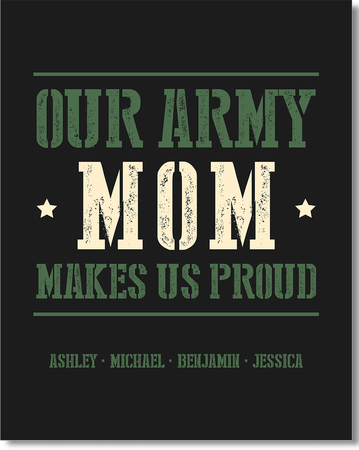 Our Army Mom Makes Us Proud - Customizable Wall Décor Art - Print, Poster & Canvas Sizes - Gift for Mom From Children