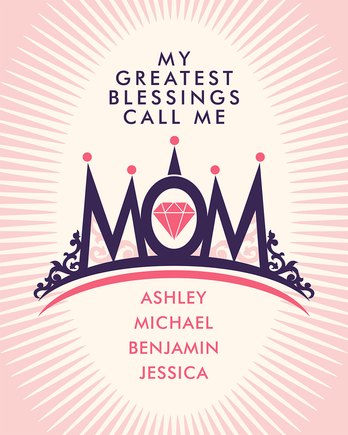 My Greatest Blessings Call Me Mom - Customizable Wall Decor Art - Print, Poster & Canvas Sizes - Gift for Mom From Children