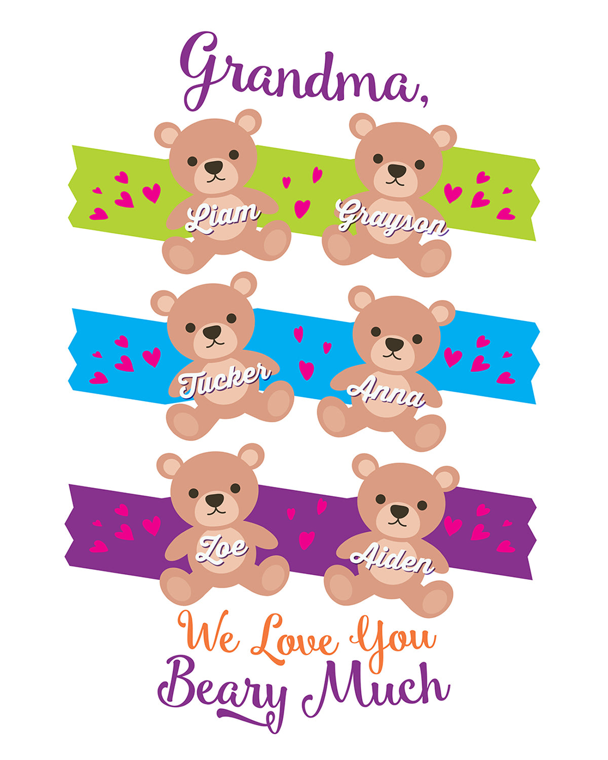 Grandma, We Love You Beary Much - Customizable Wall Decor Art - Print, Poster & Canvas Sizes - Perfect Mother's day gift for grandmothers