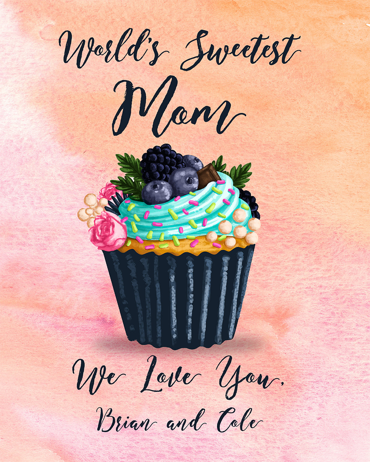 World's Sweetest Mom - We Love You, (Your Name/s) - Customizable Wall Decor Art - Print, Poster & Canvas Sizes - Gift for Mom From Children