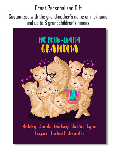 No Prob Llama Grandma - Customizable Wall Decor Art - Print, Poster & Canvas Sizes - Perfect Mother's day gift for grandmothers