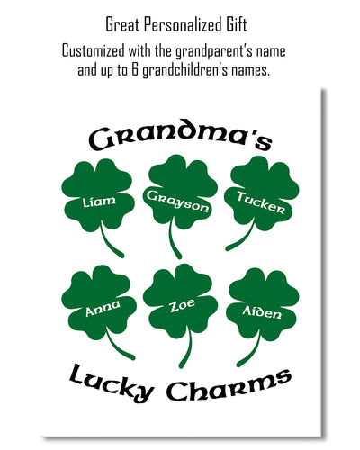 Grandma's Lucky Charms - Customizable Wall Decor Art - Print, Poster & Canvas Sizes - Perfect Mother's day gift for grandmothers