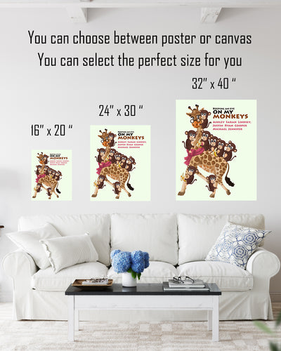 Keeping an Eye On My Monkeys - Customizable Wall Decor Art - Print, Poster & Canvas Sizes - Perfect Mother's day gift for grandmothers