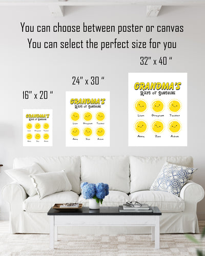 Grandma's Rays of Sunshine - Customizable Wall Decor Art - Print, Poster & Canvas Sizes - Perfect Mother's day gift for grandmothers