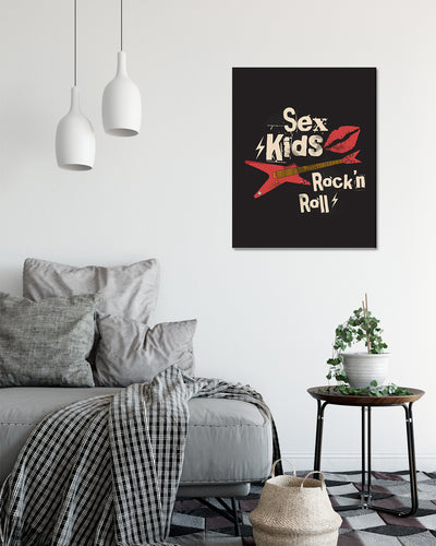 Sex Kids Rock 'n Roll - Wall Decor Art - Print, Poster & Canvas Sizes - Funny Gift for Mom