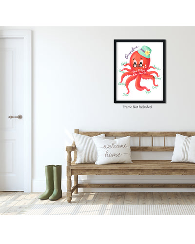 Grandma - You Octopi Our Hearts - Customizable Wall Decor Art - Print, Poster & Canvas Sizes - Perfect Mother's day gift for grandmothers