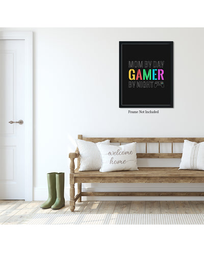 Mom By Day Gamer By Night - Wall Decor Art - Print, Poster & Canvas Sizes - Gift for Mom From Children, Gaming