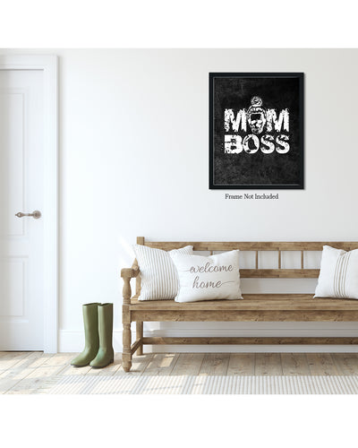 Mom Boss - Wall Decor Art - Print, Poster & Canvas Sizes - Funny Gift for Mom, Grungy