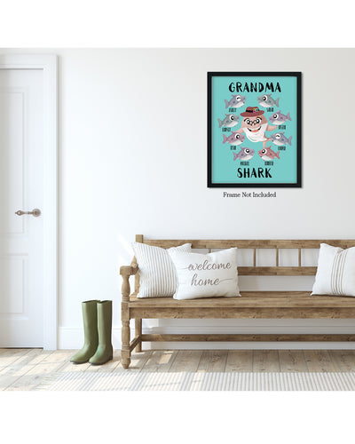 Grandma Shark - Customizable Wall Decor Art - Print, Poster & Canvas Sizes - Perfect Mother's day gift for grandmothers