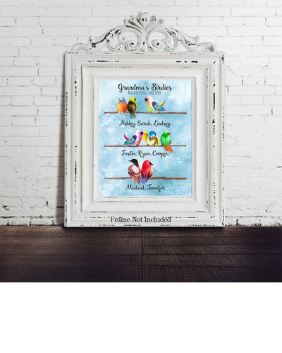 Grandma's Birdies Always Flock Together - Customizable Wall Decor Art - Print, Poster & Canvas Sizes - Perfect Mother's day gift for grandmothers