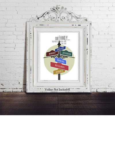 Family Street Sign - Customizable Wall Decor Art - Print, Poster & Canvas Sizes - Blended Family Gift for Mom