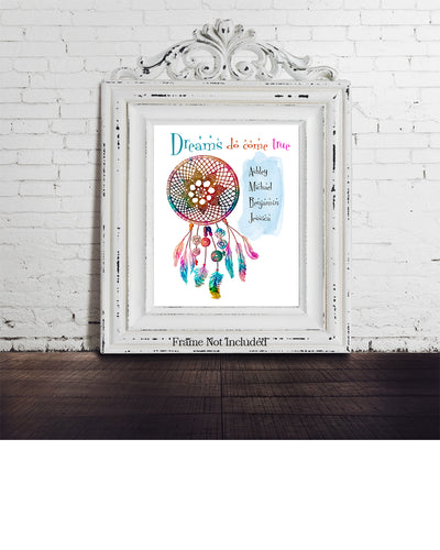 Dreams Do Come True - Customizable Wall Decor Art - Print, Poster & Canvas Sizes - Gift for Mom From Children