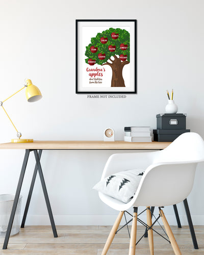 Grandma's Apples Don't Fall Far from the Tree - Customizable Wall Decor Art - Print, Poster & Canvas Sizes - Perfect Mother's day gift for grandmothers