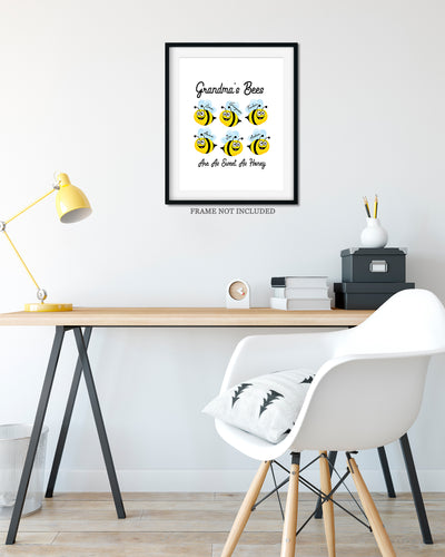 Grandma's Bees Are As Sweet As Honey - Customizable Wall Decor Art - Print, Poster & Canvas Sizes - Perfect Mother's day gift for grandmothers