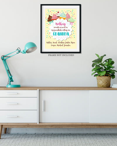 Sweet As My Grandkids - Customizable Wall Decor Art - Print, Poster & Canvas Sizes - Perfect Mother's day gift for grandmothers