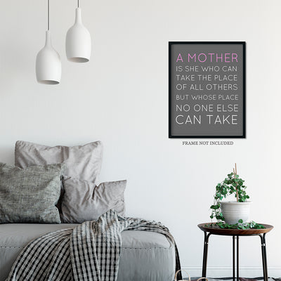 Copy of A Mother is Irreplaceable Quote Wall Art Decor Print - 11x14 unframed print for mothers