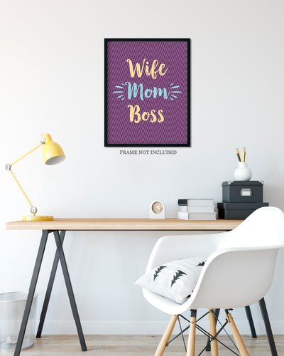 Wife Mom Boss - Wall Decor Art Print with Purple background - 8x10 unframed print for mothers