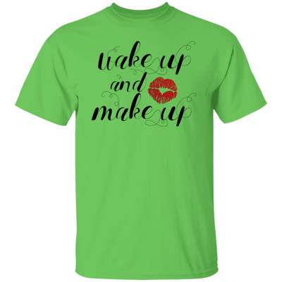 Wake Up & Make Up Shirt, Motivational T-Shirt, Lipstick Shirt, Mascara Shirt, Lashes Shirt, Beautician Gift, Women's Shirt