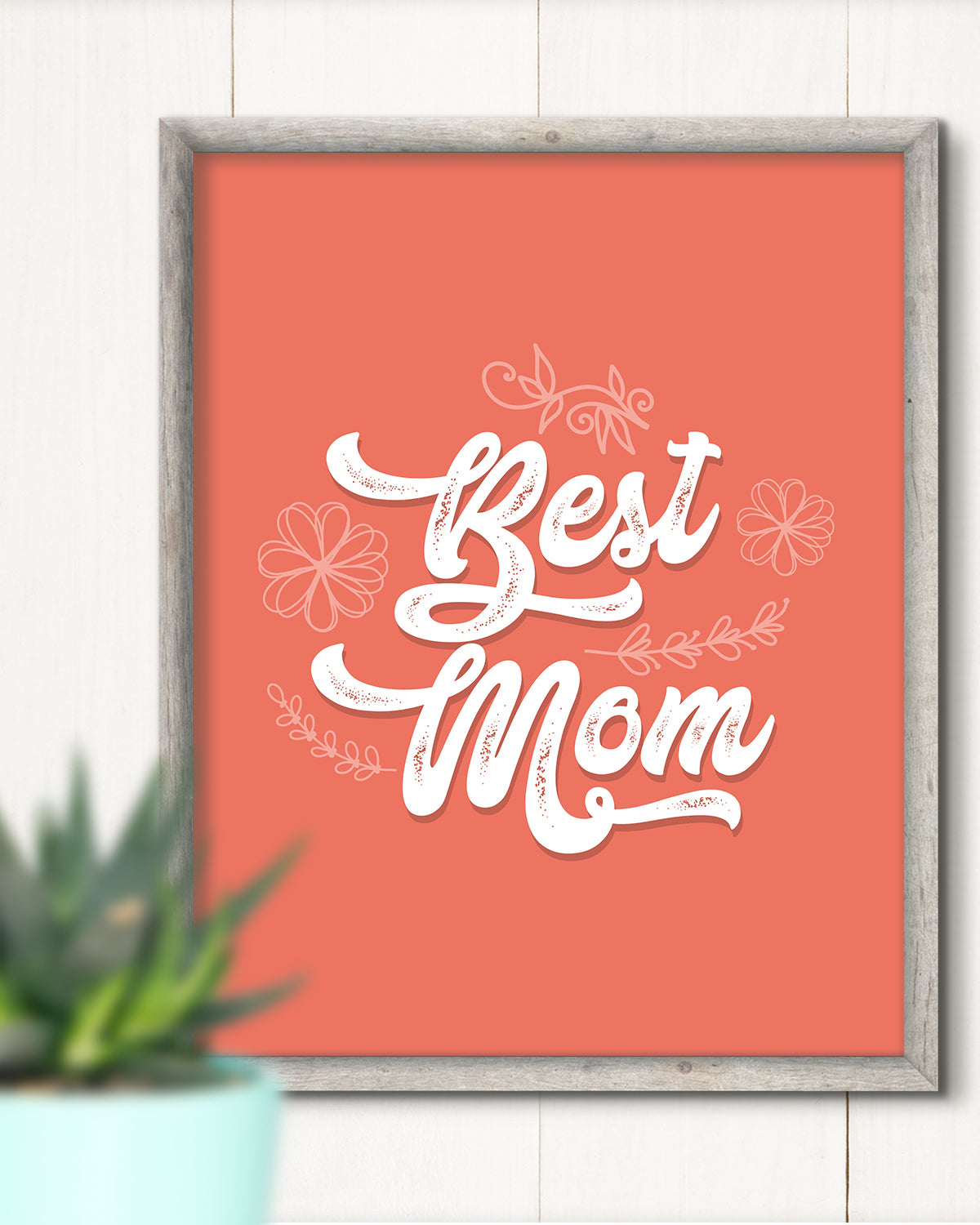 Best Mom - Wall Decor Art Print with Orange background - 8x10 unframed print for mothers
