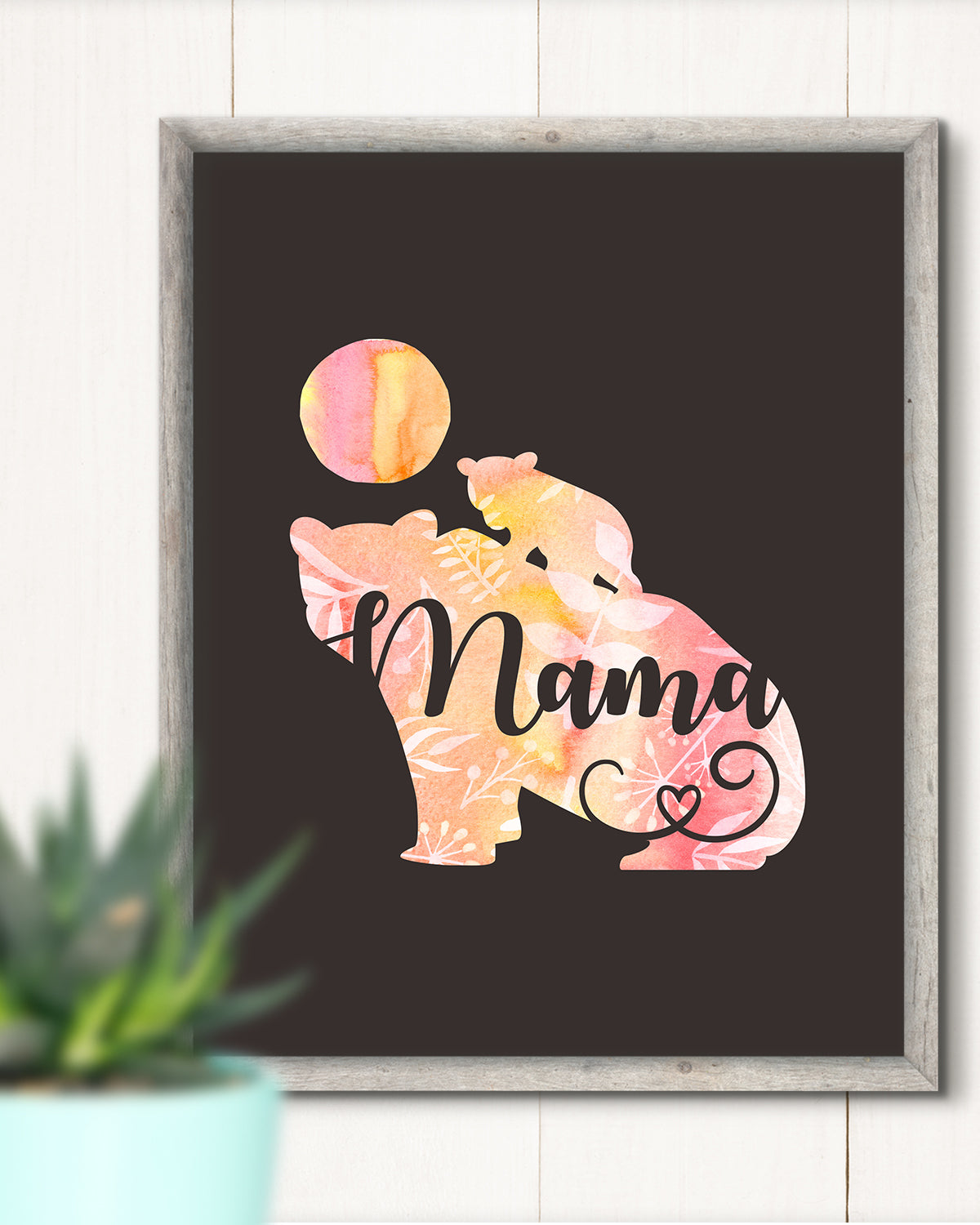 Mama Bear - Wall Decor Art Print with Black background - 8x10 unframed print for mothers