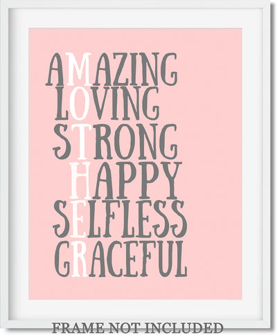 Motherly Traits Wall Art Decor Print - 11x14 unframed print for mothers