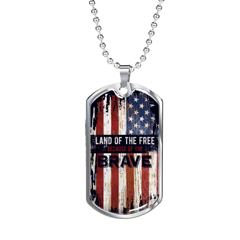 Land of the free because of the brave luxury military necklace