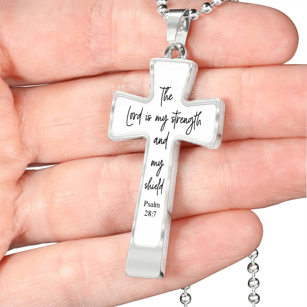 The lord is my strength and my shield Psalm 28:7 necklace with cross pendant and military ball chain