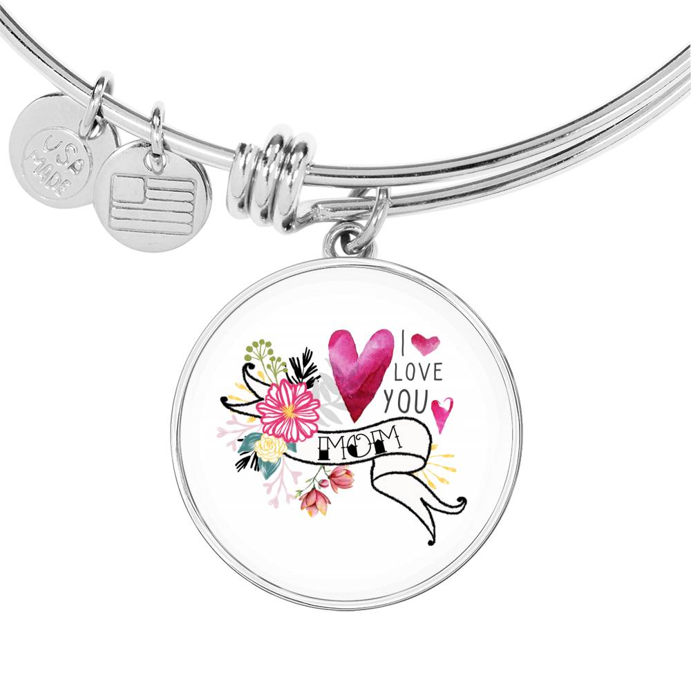 I love you mom bangle with circle pendant